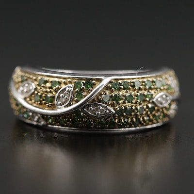 Sterling Silver Diamond Ring Featuring Leaf Motif and Green Diamonds