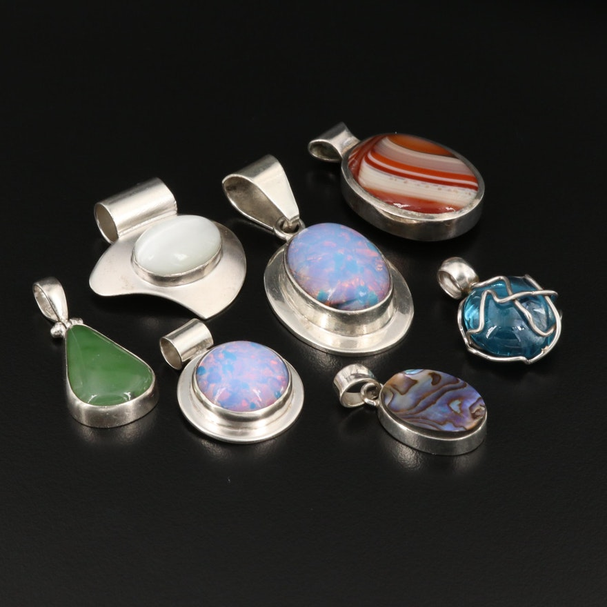 Sterling Silver Gemstone Pendants Featuring Agate, Abalone, and Nephrite