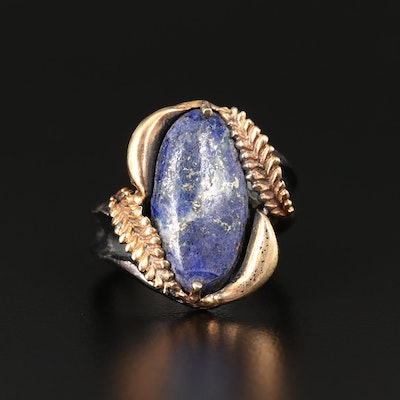 Sterling Silver Lapis Lazuli Foliate Bypass Ring
