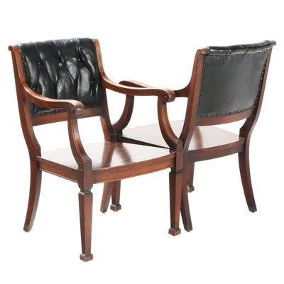 Pair of Doten-Dunton Desk Co. Mahogany and Leather Upholstered Chairs