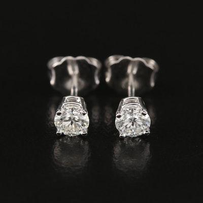 14K 0.50 CTW Diamond Solitaire Stud Earrings