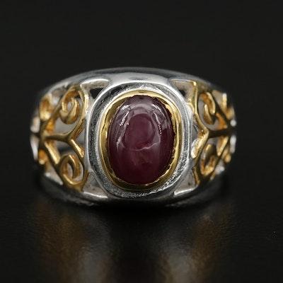 Sterling Silver Star Ruby Scrollwork Ring