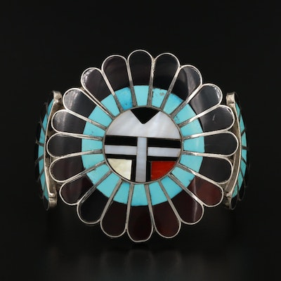 Hopi Sterling Inlaid Sunface Cuff