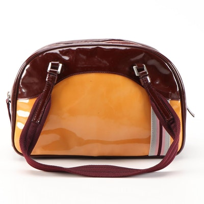 Prada Ribbon Stripe Shoulder Bag in Yellow Orange and Burgundy Patent Leather