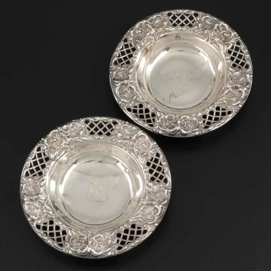 Pair of Whiting Mfg. Co. Sterling Silver Bonbon Bowls, Early 20th Century