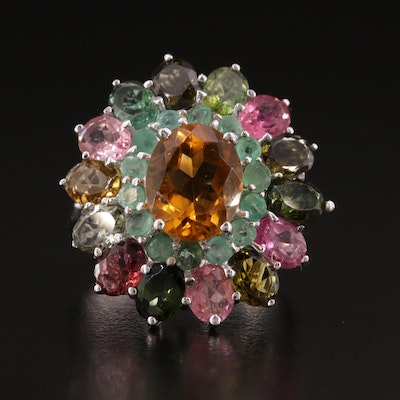 Sterling Silver Citrine, Emerald, and Tourmaline Ring