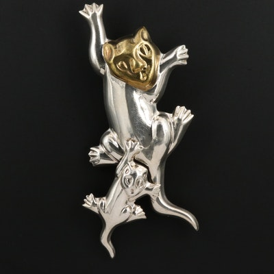 Mexican Sterling Cougar and Cub Brooch
