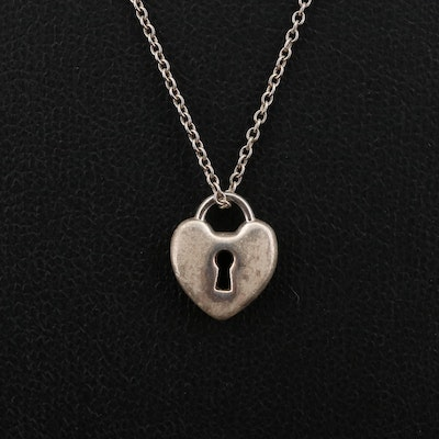 Tiffany & Co. Sterling Silver Lock Heart Pendant Necklace
