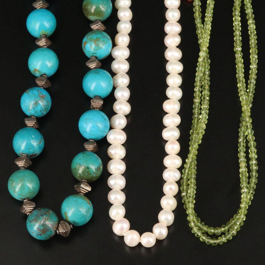 Sterling Silver Strand Necklaces Including Peridot, Turquoise and Cultured Pearl