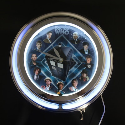 Doctor Who Neon Wall Clock with the First Eleven Doctors