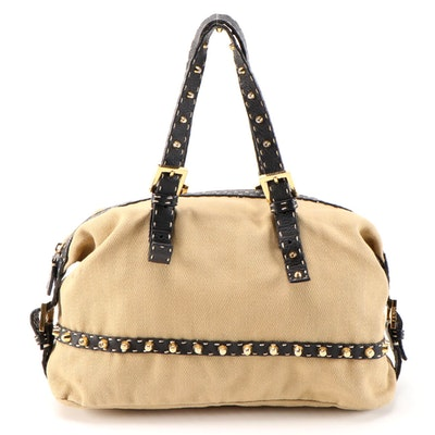 Fendi Canvas and Saddle Stitched Leather Selleria Satchel