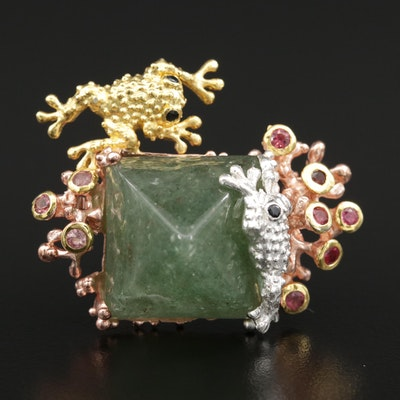 Sterling Frog Brooch Including Aventurine Quartz, Black Sapphire and Garnet