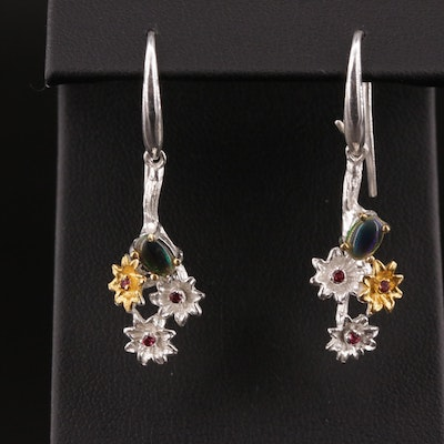 Sterling Silver Opal and Garnet Flower Dangle Earrings