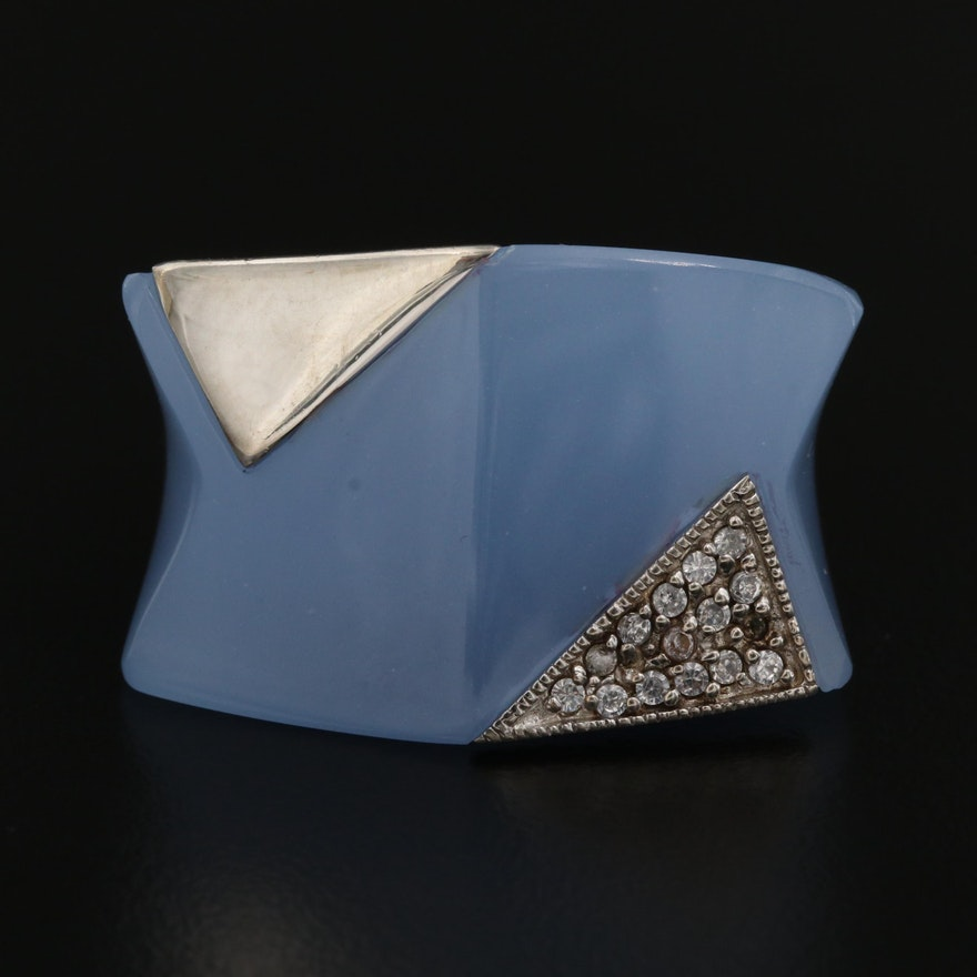Sterling Silver Blue Resin and Cubic Zirconia Ring
