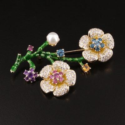 Sterling Silver Topaz, Garnet and Cultured Pearl Flower Brooch