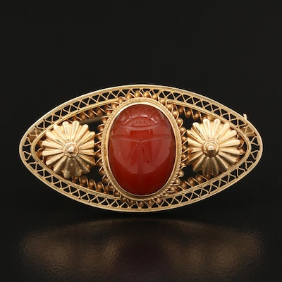 Victorian Egyptian Revival 14K Carnelian Scarab Brooch with Fluted Accents