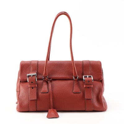 Prada Shoulder Bag in Dark Red Vitello Daino Leather with Padlock and Keys