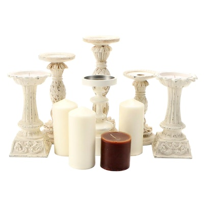 West Elm Candle and Candle Holder with Other Candles and Holders