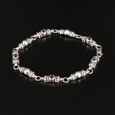 """Caviar"" by Lagos Sterling Silver Amethyst Bracelet with 18K Accents"