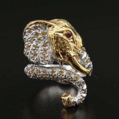 Sterling Silver Sapphire and Garnet Elephant Bypass Ring