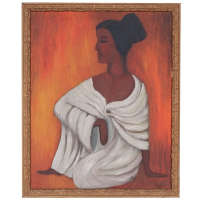 Folk Art Female Figure Oil Painting, 1968