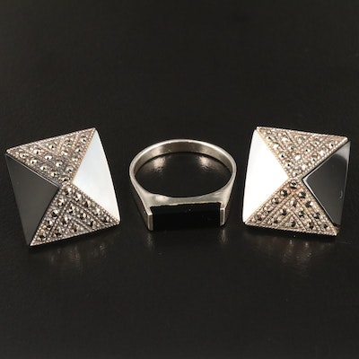 Sterling Silver Black Onyx, Mother of Pearl and Marcasite Earrings and Ring