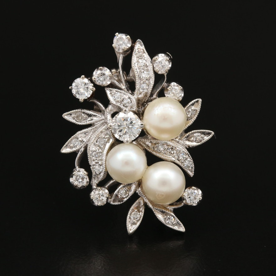 Vintage 14K Pearl and Diamond Floral Brooch