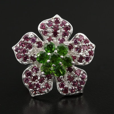 Sterling Silver Diopside and Rhodium Garnet Flower Ring