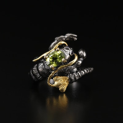 Sterling Silver Peridot and Amethyst Crustacean Ring