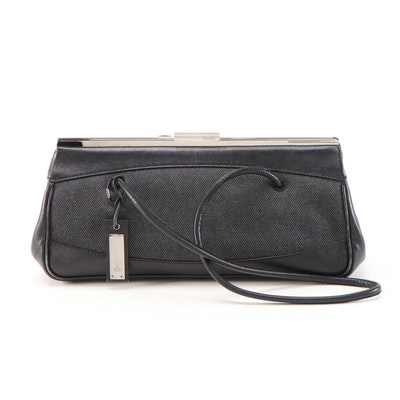 Gucci Denim Shoulder Bag with Black Leather Trim