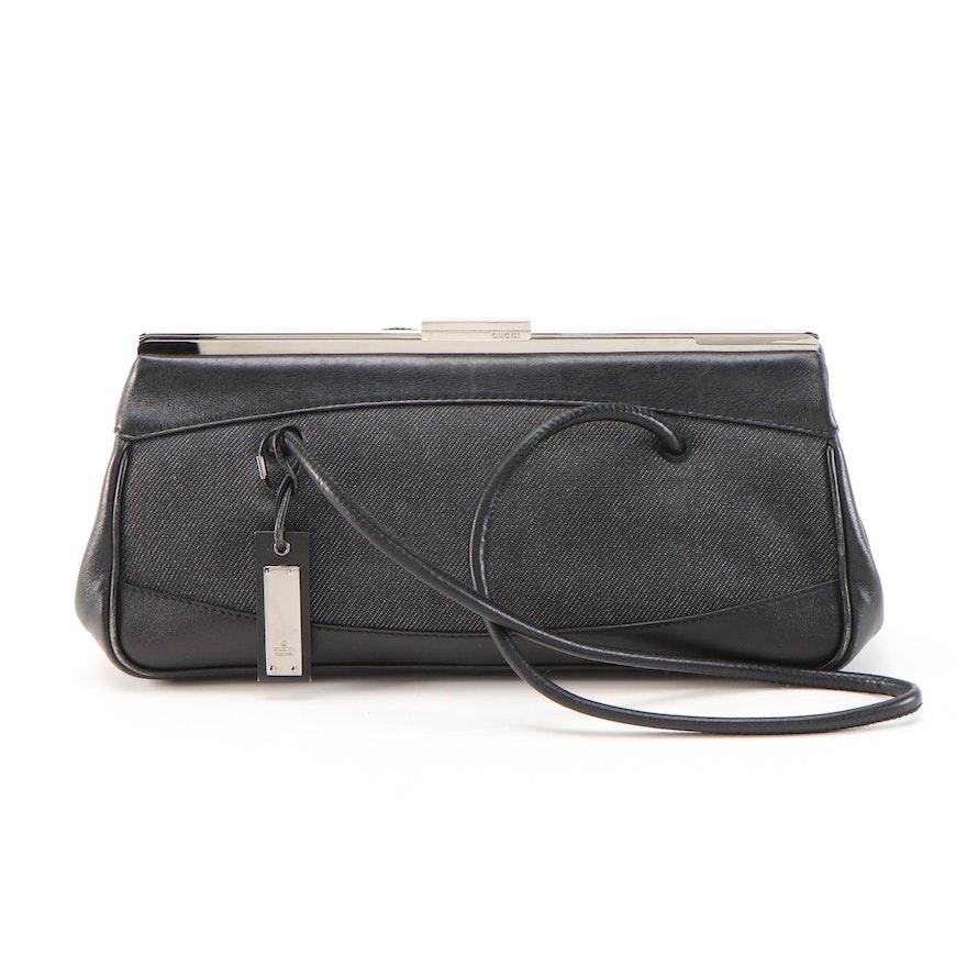Gucci Denim Shoulder Bag with Black Leather Trim