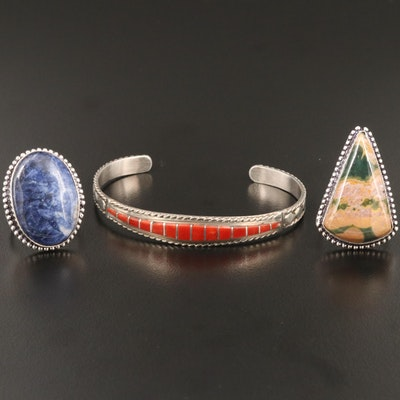 Sterling Silver Sodalite and Ocean Jasper Rings and Cuff