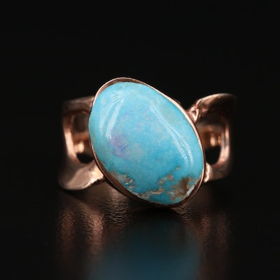 Sterling Silver and Turquoise Rose Gold Tone Openwork Ring
