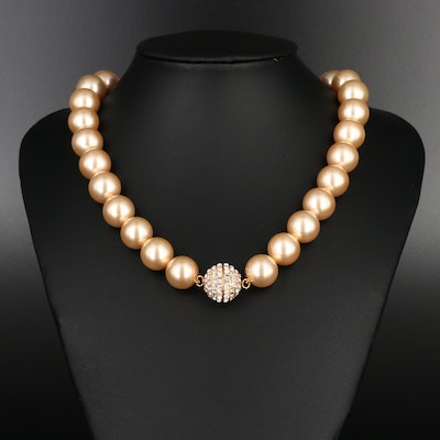Strand of Faux Pearls with Sterling Rhinestone Clasp