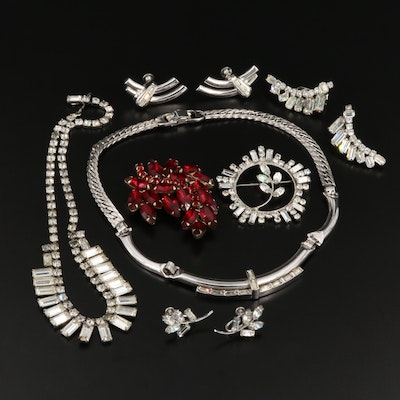 Collection of Rhinestone Jewelry Featuring Weiss, Denbe and Tara