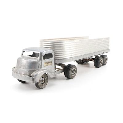 "Smith-Miller Inc. ""Fruehauf"" Metal Semi Truck Toy, Mid-20th Century"