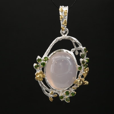Sterling Rose Quartz Flora and Fauna Pendant with Chrome Diopside Accents