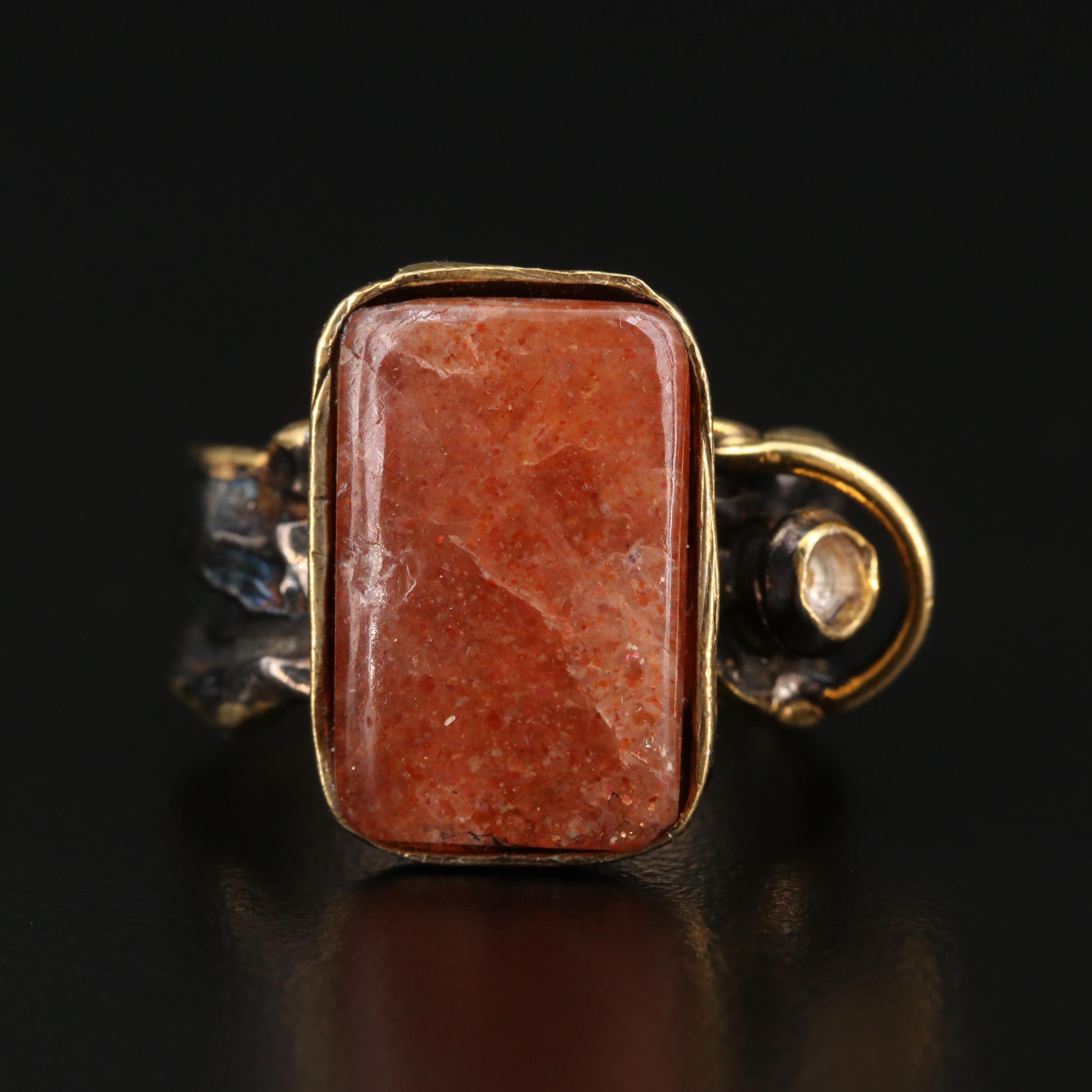 Large Faceted Sunstone Sterling Silver Ring One of a Kind Shimmering Sunshine Sacral Chakra Creative Energy Joyful Uplifting Gemstone