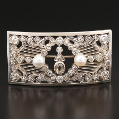 Circa 1918 14K and Sterling 1.55 CTW Diamond and Pearl Curved Brooch