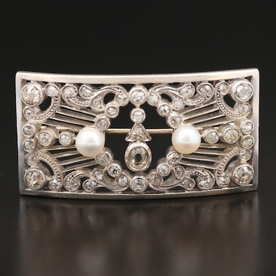 Victorian 14K and Sterling 1.55 CTW Diamond and Pearl Curved Brooch