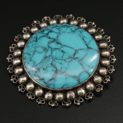 Vintage Mexican Sterling Silver Faux Turquoise Brooch