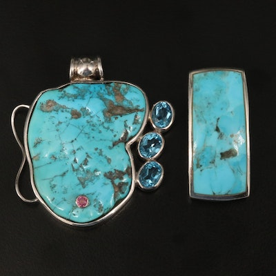 Sterling Silver Turquoise, Topaz and Tourmaline Pendants