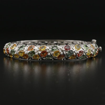 Sterling Silver Yellow, Orange and Green Sapphire Bangle Bracelet