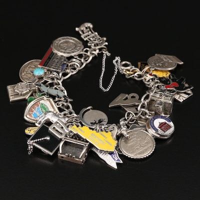 Sterling Silver Charm Bracelet with Travel and Museum Theme Charms