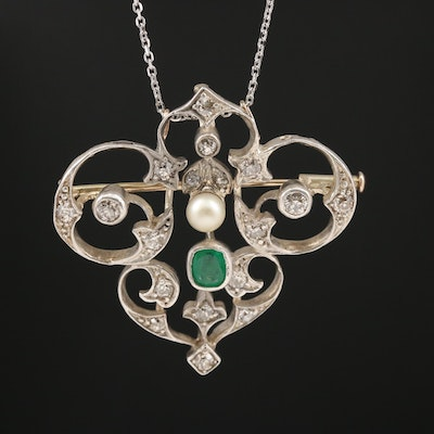 Antique 14K Emerald, Pearl and 1.01 CTW Diamond Necklace with Fine Silver Front