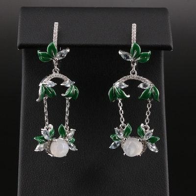 Sterling Silver Opal, Cubic Zirconium and Topaz Dangle Earrings