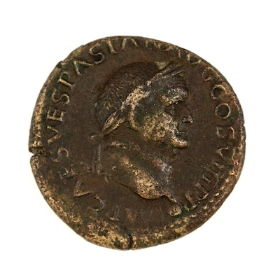 Ancient Roman Imperial AE Dupondius Coin of Vespasian, ca. 77 A.D.