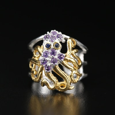 Sterling Silver Sapphire and Amethyst Octopus Ring