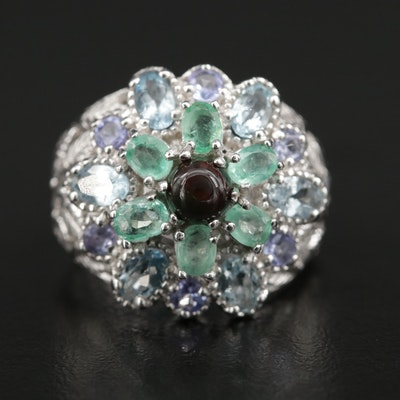 Sterling Opal, Beryl and Blue Topaz Foliate Dome Ring
