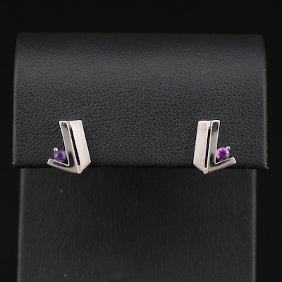 Sterling Silver Amethyst Geometric Stud Earrings